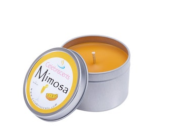 Orange Juice and Champagne (Mimosa) scented soy candle with delightful top notes of mandarin, berries, dew fruits and orange essential oils.