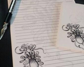 Kraken Stationery Set with envelopes, Black and White Retro Design