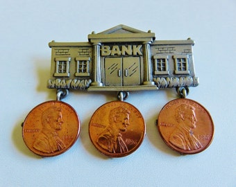 Unique JJ Jonette Two Tone Bank And Penny Brooch Pin