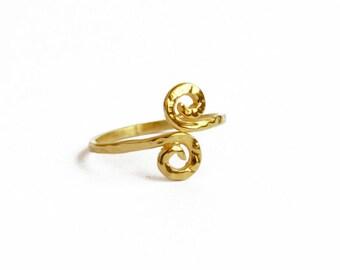 Gold Spiral Ring, Adjustable Gold-filled Ring, Fashion Jewelry Ring, Spiral Ring, Trendy Jewelry Ring