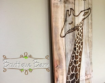 Giraffe/Modern Baby Nursery/Giraffe Wall Decor/Safari Room Decor/Safari Nursery/Giraffe Nursery/Safari Animals/Wooden Sign/Rustic Decor/