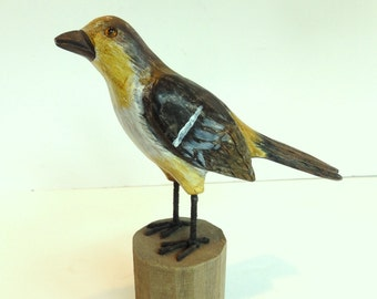 Wooden Hand Carved Bird Statuette. Folk Art Bird Carving