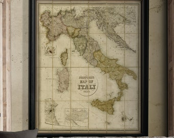Italy Map Print : Old Vintage rustic Edward Stanford's 1859 large Map of Italy print poster