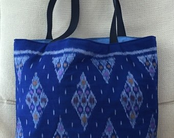 Blue Cotton Ikat quilted tote with diamond motif