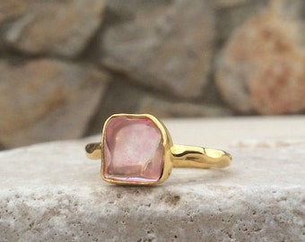 Raw Stone Ring, US 7, Pink Sapphire Vermeil Ring, Raw Pink Stone Ring, Rough Gemstone Ring, Rough Pink Sapphire Ring, Bridesmaid Jewellery