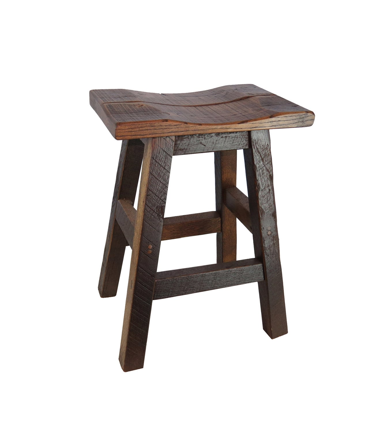 Barnwood Bar Stools Saddle Seat 24