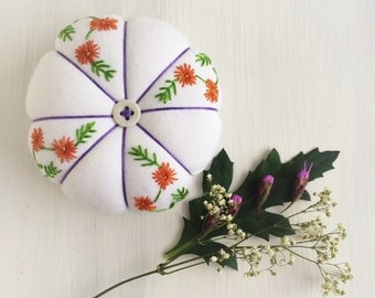 Embroidered Pincushion - Hand Embroidered Pincushion - Floral Embroidery - Mandarin Flowers