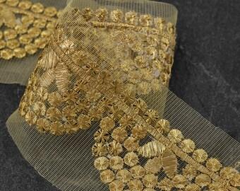 "1-3/4"" Metallic GOLD Thread Sequin Braid Trim by 1-Yard, SMB-MM1017"