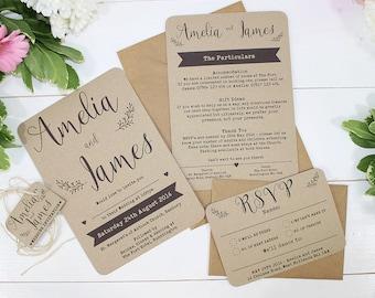 Rustic Kraft Wedding Invitations - Isadora - Kraft