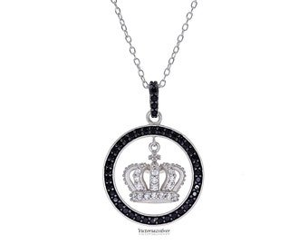 925 Sterling Silver Crown Necklace ,Pave Crown Necklace