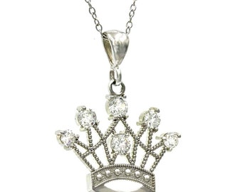 925 Sterling Silver Rhodium Plated Tarnish Free Crown Necklace!