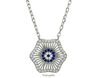 925 Sterling Silver Evil Eye Necklace,Silver Pave Evil Eye,Evil Eye Jewelry