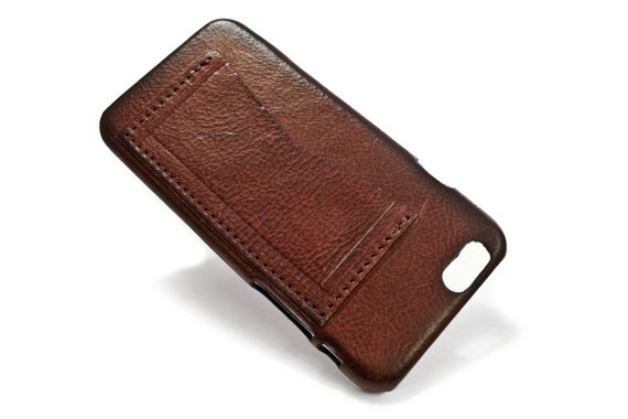"iPhone 6 Leather Case Washed Leather Aged with credit card holder for 4.7"" & PLUS 5.5"" col PRUGNA"