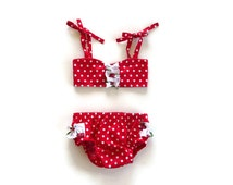 Girls retro bikini - gidget bikini - baby bikini - infant bikini - girls vintage bikini - baby sunsuit - cake smash outfit - baby pageant