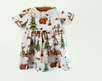 Girls dress - baby dress - girls woodlands dress - girls dress with sleeves - toddler dress - dress for 1 year old girl - 1st birthday dress