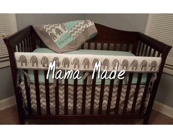 Elephant Crib Bedding Set Gray Chevron
