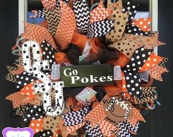 Oklahoma State wreath, sports deco mesh wreath, OSU Cowboys, Football wreath, OSU wreath