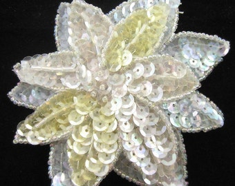 "Flower Applique with Layeres, Multi-Cloror Iridescnent Sequins and Beads, 4""  -B073"