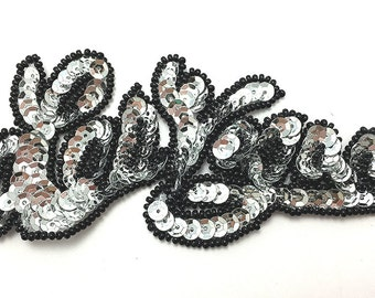 "Choice of Color Las Vegas Appliqué with Silver or Gold Sequins and Black Beads, 4.5"" x 2""  -B278"