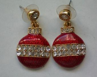 Christmas Tree Ornament Dangle Pierced Earrings - 4377