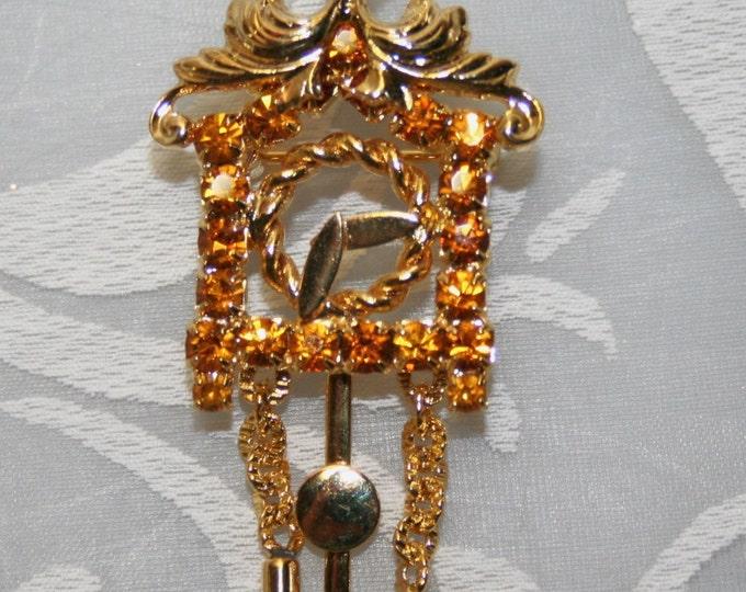 RARE Miniature Rhinestone Pendulum Clock Pin Czechoslovakia -free shipping