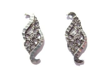 Vintage Sterling Swirl Textured Cut Edge Earrings Post Back Pierced