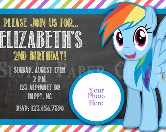 MLP Rainbow Dash Birthday Invitation, Digital File, You Print