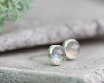 Minimalistic stud earrings with faceted labradorite, sterling silver