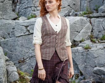 Folk Vest, Women's, Classic, Vintage Look, Tweed Vest, Coloured Womans Vest, Folk Waistcoat, Celtic Waistcoat, Celtic, Dandy