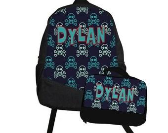 Skull Backpack Lunch Bag Set - Back to School Set - Skater backpack Lunch box School Set - Matching backpack and lunch bag