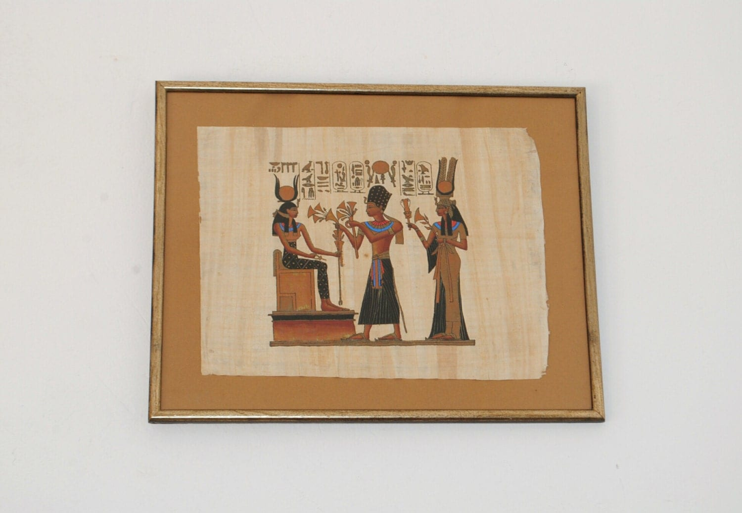 large framed papyrus painting egyptian papyrus wall decor. Black Bedroom Furniture Sets. Home Design Ideas