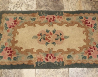 Hooked Rug, Large Antique, Floral Motif, Vintage Hand Made Carpet