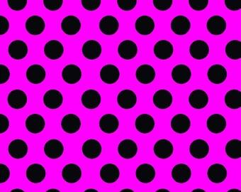 Magenta with black dots craft  vinyl sheet - HTV or Adhesive Vinyl -  large polka dot pattern  HTV783