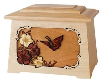 Maple Butterfly Astoria Wood Cremation Urn