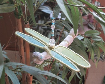 Dragonfly Ornament - Housewarming Gift - Bridesmaid Gift - Christmas - Birthday Gift - Bridesmaid Gift - Christmas  - White & Lt. Green