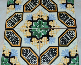 """90 Mexican Talavera Tiles.Hand painted 4 """"X 4"""""""