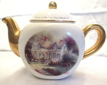 "Thomas Kinkade Teapot ""Home is Where the Heart Is II"" Porcelain and Gold Teapot - Excellent Condition"