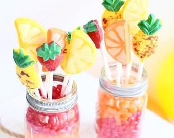 Tutti Frutti Birthday Party Candy Lollipops, Two-ti Frutti/Luau/ Party Fruit Theme Party, Farmers Market Theme/ (12)