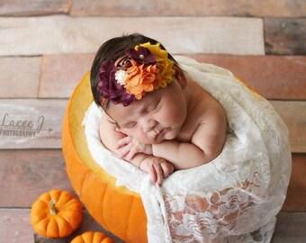 Mustard and plum headband, Fall headband, plum headband, mustard headband, Thanksgiving headband, newborn headband, baby headband photo prop
