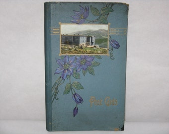 Vintage post card album holder blue flowers