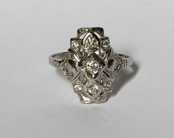 Vintage Diamond Cluster Ring in 14K White Gold. Art Deco Filigree Ring. Unique Engagement Ring. April Birthstone. 10 Year Anniversary Gift