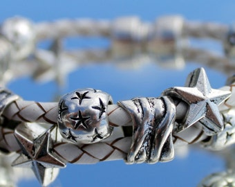 white Leather Bracelet with Stars