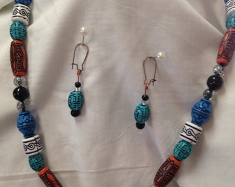 """Necklace and earrings, """"Pueblo"""" pendant necklace with matching earrings"""