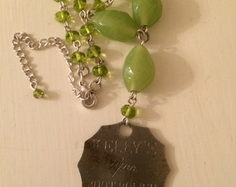 Repurposed Green Bead Necklace with a Vintage Boot Polish Opener