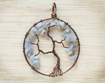 Blue lace agate Tree of life pendant  Copper wire wrapped pendant Handmade Tree of life
