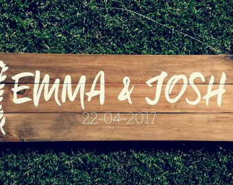 Personalized Name Sign, Couple Wedding Gift, Wedding Date Sign, Established Sign, Custom Wooden Sign, Personalized Sign  | 85cm x 30cm