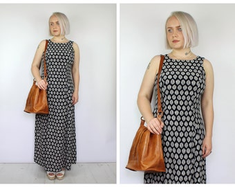 Vintage 1980's Black and White Bohemian Boho Maxi Dress 14