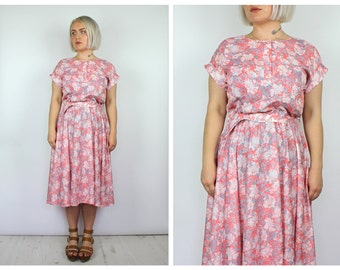 Vintage 1980's Pink and White Floral Midi Dress 14 16 18 20