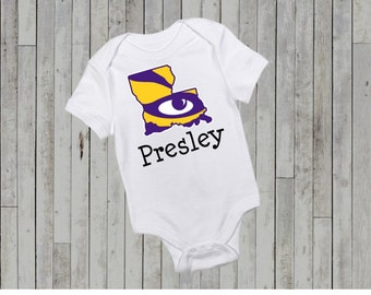 LSU Personalized onesie