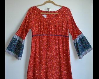 Vintage 70s Hippie Festival Maxi Floral Calico Dress ~Danville~Size US Womens Size Medium~ see Dimensions